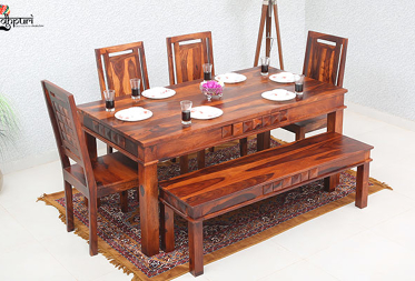 Ewa 6 Seater Dining Set with Bench