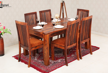 Elias 6 Seater Dining Set with Cushion Top Chairs