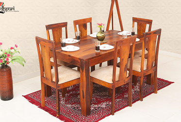 Arial 6 Seater Dining Set with Cushion Top Chairs