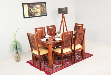 Ewa 6 Seater Dining Set with Cushion Top Chairs