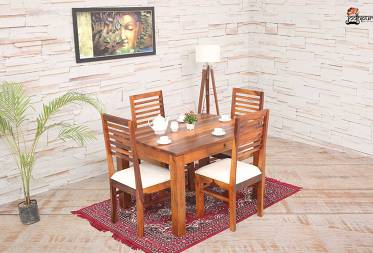 Ambri 4 Seater Dining Set with Cushion Top Chairs