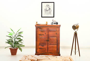 Elephant design two door sheesham wood cabinet