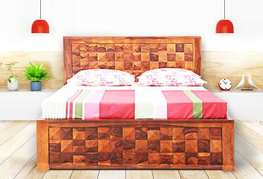 Scott Queen Size Bed Without Drawer Storage