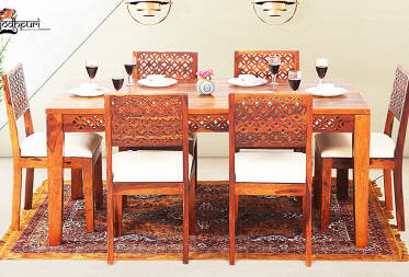 Pearl 6 Seater Dining Set with Cushion Top Chairs