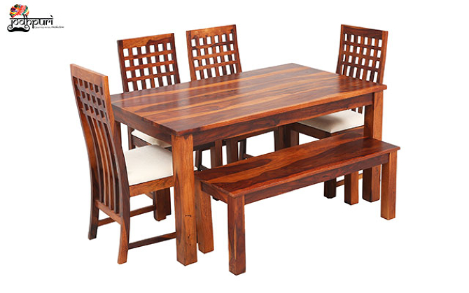 Ellen 6 Seater Dining Set with Cushion Top Chairs and Bench