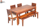 Pearl 6 Seater Dining Set with Cushion Top Chairs and Bench